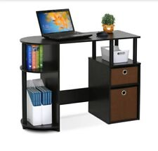 Furinno Jaya Simplistic Computer Study Desk With Bin Drawers, Espresso New
