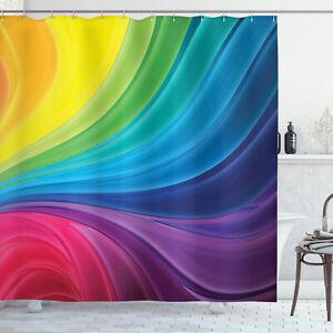 Abstract Rainbow Paint Pattern Spray Art Ombre Retro Decor Shower Curtain Set