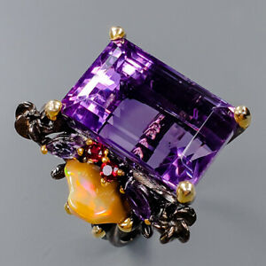 AAA+ color IF 27 ct Amethyst Ring Silver 925 Sterling  Size 8.5 /R153066