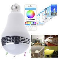 E27 Bluetooth 4.0 APP Smart Music Audio Speaker LED RGB Color Bulb Light Lamp