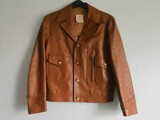 Rare 70's retro leather jacket, Size 40 with large collar and zips.