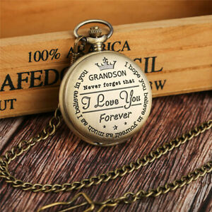 To My Grandson Men Boy Quartz Pocket Watch Pendant Chain Kid Gift Roman Number