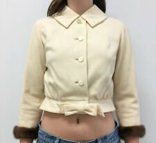 Vintage VTG 50s 1950s Cream Jacket Mink Long Sleeve Detail Button Up Bow Detail