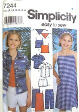 Girls Summer Dress Top Pants Shorts Pattern Size 7 8 10 12 14 16 Simplicity 7244