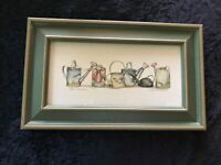 Framed Print of 6 watering cans by Gay Talbott Boassy titled 'Thirst Quenchers'.