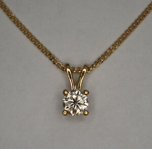 1/2CT GENUINE DIAMOND PENDANT  18k YELLOW GOLD + CHAIN