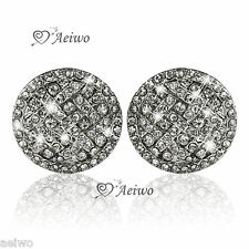 9K GF 9CT WHITE GOLD SIMULATED DIAMOND SPARKLING STUD EARRINGS