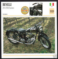 1939 Benelli 250cc 4TNR Turismo (246cc) Italy Motorcycle Photo Spec Info Card