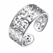 *UK* 925 Silver Plt Filigree Adjustable Open Toe Ring Hollow Flower Patterned