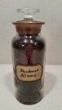 """Antique Apothecary Pharmacy 8"""" Medicine Bottle Jar & Ground Stopper - Aloes"""