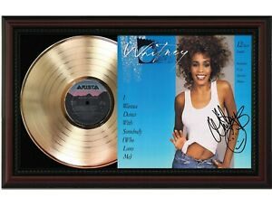 """Whitney Housto Framed Cherry wood Reproduction Signature LP Record Display. """"M4"""""""