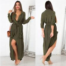 Damen Chiffon Longshirt Langarm Bluse Hemdkleider Tunika Minikleid Sommerkleid