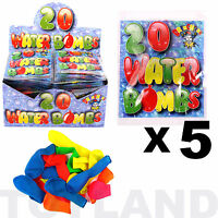 WATER BOMBS x 100 BALLOONS (5 Packs) BOYS GIRLS TOY BIRTHDAY PARTY BAG FILLERS