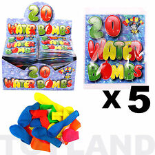 WATER BOMBS x 100 BALLOONS (5 Pack) TOY GARDEN GAME BIRTHDAY PARTY BAG FILLER