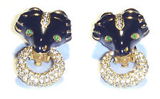 Chic VINTAGE Black ENAMEL RAM Crystal EMERALD EYE Door Knocker CINER EARRINGS