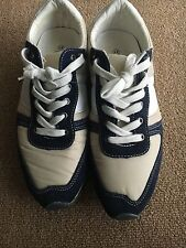 Men's Beige and Navy Blue Stone Sneakers Size 8 Very Nice!!!