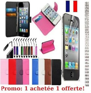 Case Cover IPHONE 4/4s Or 5/5S Leather Credit Card +Film+Stylus Under 48H