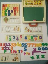 Vintage 1972 Fisher Price Toys School Days Desk Chalkboard Letters Home Schooler