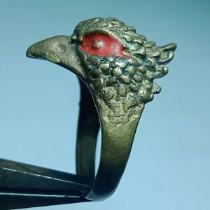 ANCIENT ROMAN BRONZE DECORATED ANIMAL EAGLE RING EUROPEAN FINDS