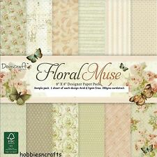 DOVECRAFT  FLORAL MUSE PAPERS  - NEW - 8 X 8 SAMPLE PACK - 12 SHEETS