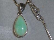 """Sterling Pendant  16 X 8mm Green Opal 18"""" Box Chain AK Clasp Konder #295"""