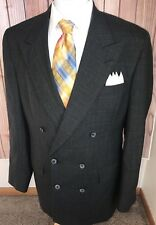 Hart Schaffner & Marx Careers Gray Plaid Wool Double Breasted Blazer Jacket 40L