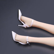 Custom White High-heel Shoes Model For 1/6th Scale Female Phicen Doll Figure Toy