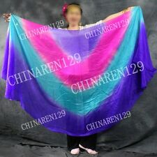 HALF CIRCLE BELLY DANCE 100% SILK VEIL  Purple Pink blue Purple    88996