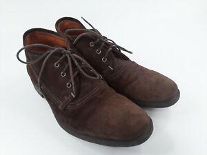 John Varvatos Dark Brown Suede Lace Up Leather Shoes Size 10.5 Vibram Soles
