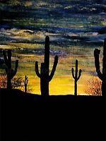 ARIZONA SUNSET CACTI CACTUS SILHOUETTE PAINTING PHOTO ART PRINT POSTER BMP1054A