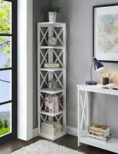 Oxford 5 Tier Corner Bookcase 203080W, White Finish