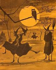 Witches dancing in HALLOWEEN Moon Light Owl watching