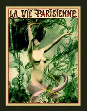 1927 PINK MERMAID semi-nude vintage La Vie Parisienne 8x10 Herouard Art print