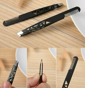 Tweezers With Comb Stainless Steel Professional Travel Pocket Tweezers