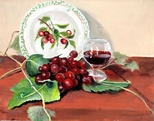 Cherry plate and grapes  still life 8 x 10 print of original painting