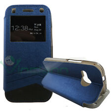 Custodia flip cover S-View per HTC One mini 2 blu finestra touch simil pelle