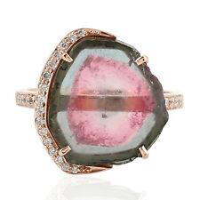 Watermelon Tourmaline Gemstone Ring Studded Diamond 18k Rose Gold Xmas Gift