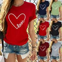 Women Valentine's Day Short Sleeve O Neck Letter Print Heart-shaped Tops
