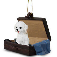 Cockapoo White Traveling Companion Dog Figurine In Suit Case Ornament