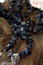 """Crystal  Blue SandStone  Leaf Long  Necklace 34"""""""