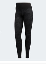 ADIDAS Womens Black Believe This Camouflage Jaquard Tights Ladies Large BNWT