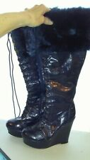 Women's Boot sz 8 deep navy blue  21 in. tall fur/laces up & zips  guc  1x1350