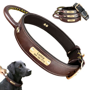 Leather Dog Collar Custom ID Nameplate Large Breeds Training Collar with Handle