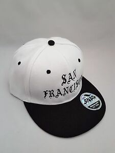 San Francisco Embroidered  Snap back Cap White and Black
