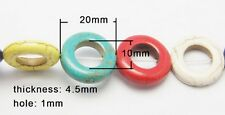 10 Multicolore Sintetici Turchese 20mm Anello Rotondo A Forma Di Perline (box42)