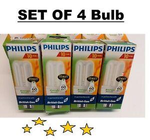 Set of 4  Philips 11 Watt (60w) Bayonet Energy Saving Light Bulbs Long Life NEW