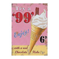 Vintage 99 Ice Cream Sign Food Kitchen Garage Shed Workshop Classic Metal Plaque