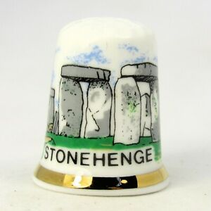 COLLECTABLE FINE BONE CHINA THIMBLE 'STONEHENGE' WILTSHIRE BY FINSBURY