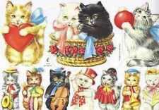 Victorian style decoupage scrap scrapbooking art projects Cats Kittens Cat Kitty