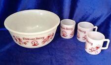 Vintage Tom And Jerry Christmas Punch Bowl 3 Mugs Hazel Atlas Milk Glass Egg Nog